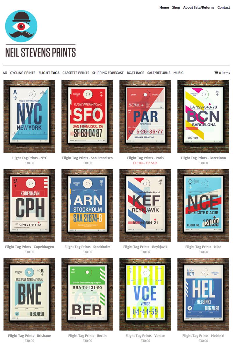Webshop Neil Stevens reizen posters