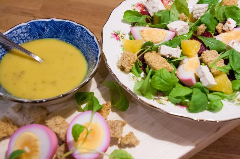 Bietensalade met sinaasappel en roze eieren | www.deedylicious.nl
