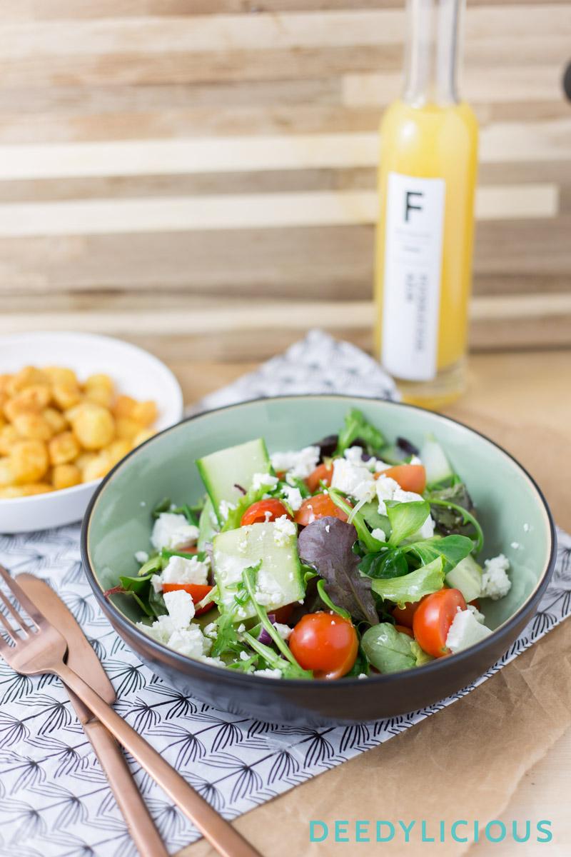 Frisse salade met mangodressing en aardappeltjes   www.deedylicious.nl