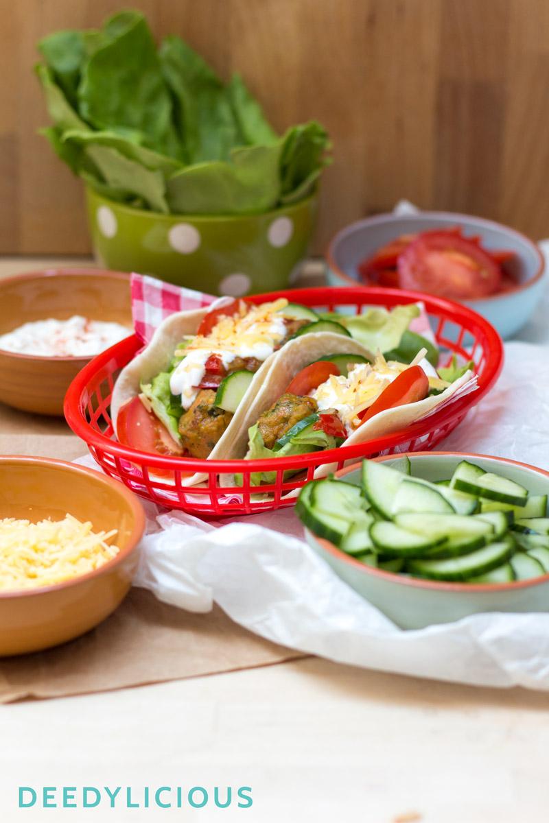 Soft taco's met vegetarische gehaktballetjes | www.deedylicious.nl