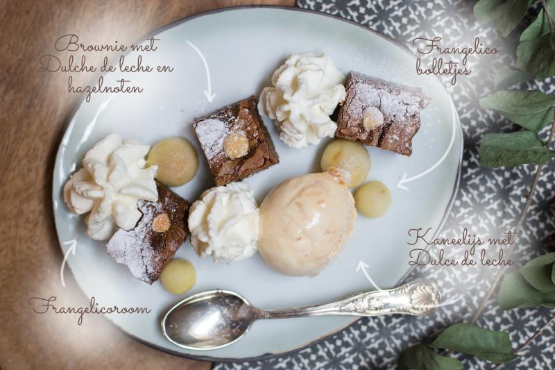 Dulce de leche brownie met Frangelicoroom en kaneelijs | www.deedylicious.nl