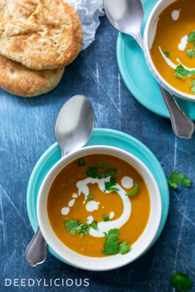 Currysoep met zoete aardappel en naan | www.deedylicious.nl