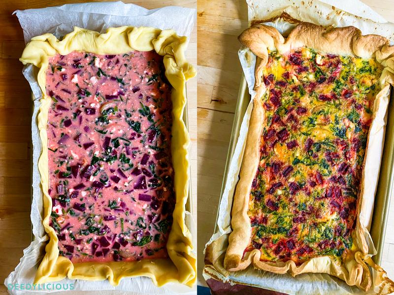 Bietenquiche met spinazie en feta | www.deedylicious.nl